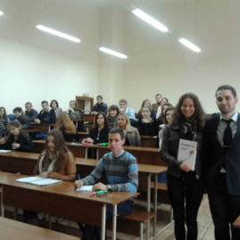 Александр Цыглин с презентацией книги в ВУЗе среди студентов